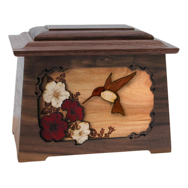Wood Adult Cremation Urn Wooden Ducks Hunter Tree Carvings
