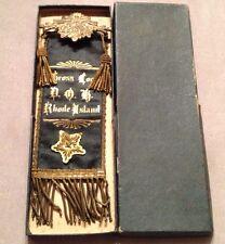 Antique German Fraternal D.O.H Harugari Rhode Island Cross Loge Medal Vtg Ribbon