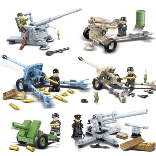 LEGO kompatibe Artillerie Militär 6X Set Minifiguren WW2 Armee Sowjet Russland