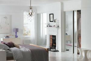 Wide Up To 1780mm & Storage 5ft 10ins Sliding Wardrobe Doors mirrored X 3