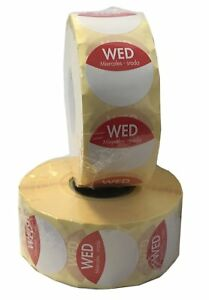 1 Roll Sunday Day Dot Food labels stickers Colour Coded 25mm 1000 Roll