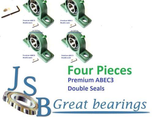 Qt.4 Premium UCP201-8 double seals ABEC3 Pillow block bearings 1//2 bore UCP201