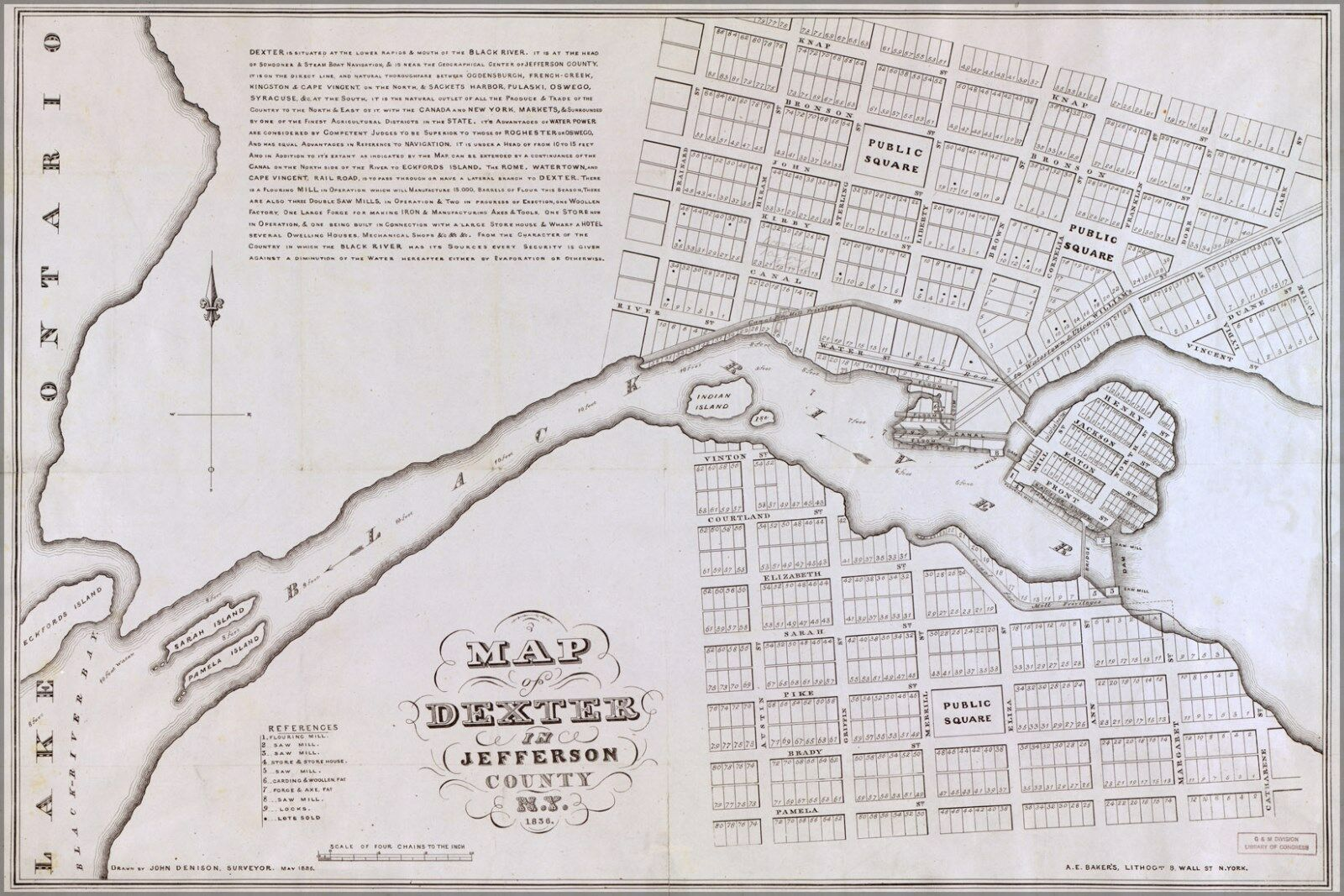 Poster, Many Größes; Map Of Dexter New York State 1836