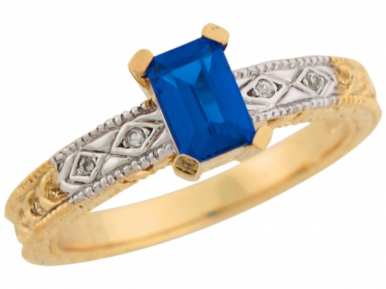 10k or 14k Two Tone Real gold Simulated Sapphire White CZ Accent Ladies Ring