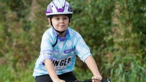 Polka Dot Get In Gear Short Sleeved Girls Cycle Jersey
