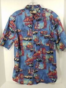 Joe-Marlin-Mens-Button-Down-Shirt-Size-L-Blue-Corvette-Car-Print-Short-Sleeves