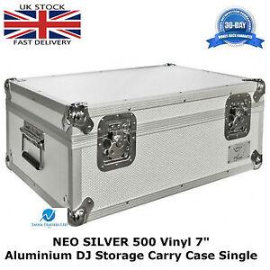2-X-Vinyl-7-034-Record-Aluminium-DJ-Flight-Storage-Carry-Case-Silver-Hold-500-Tough