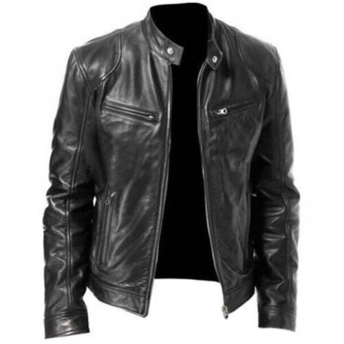 Mens Black /& Brown Leather Jacket Vintage Slim Fit Biker Retro Genuine