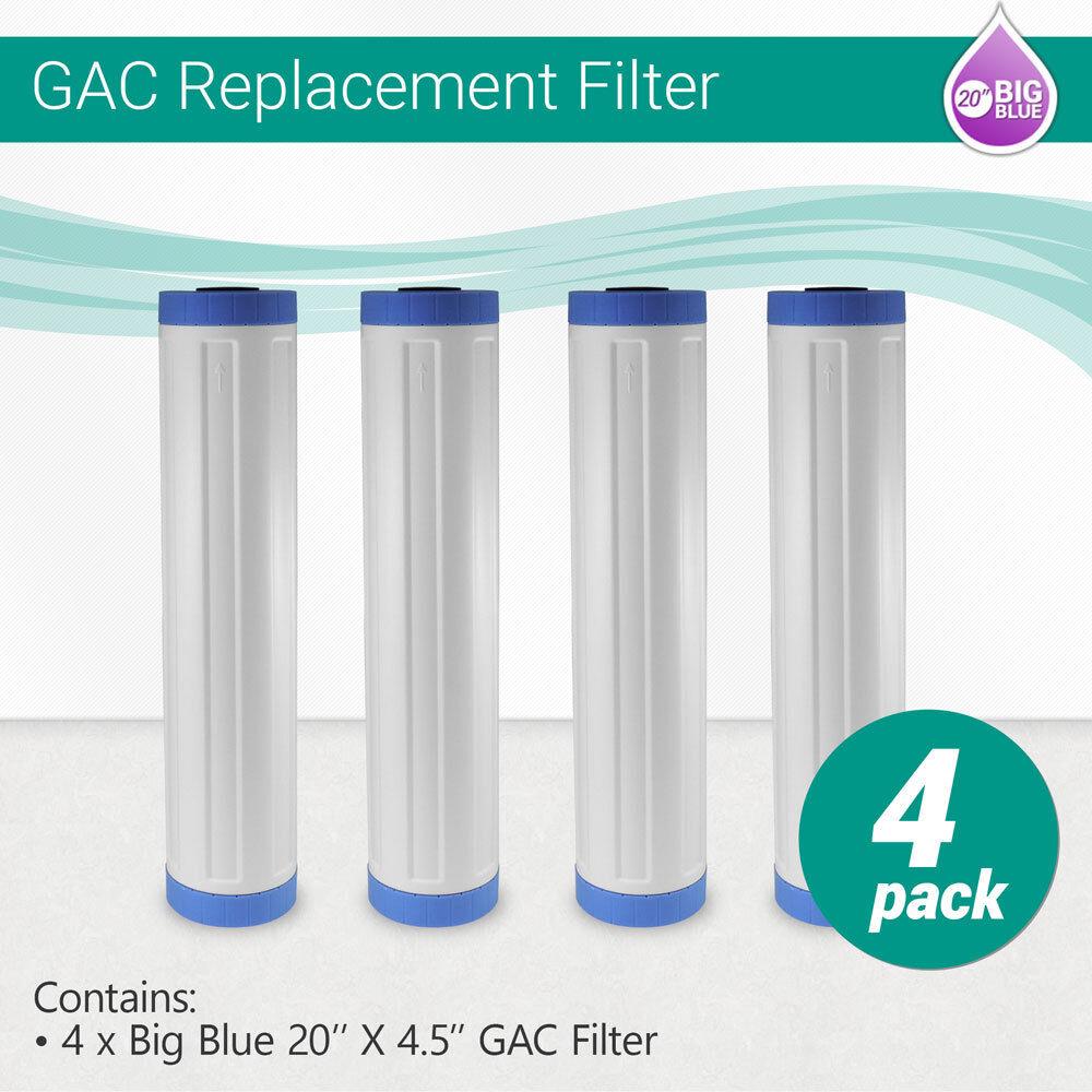 (4) Big bleu 20 x4.5  Whole House GAC Granular Coconut Shell Carbon Water Filter