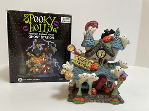Vintage Spooky Hollow Porcelain Light Up Ghost Station Halloween Decor *No Cord