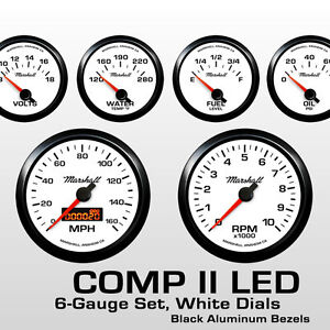 C2-6-Gauge-Set-White-Dials-Black-Bezels-0-90-Ohm-Fuel-Level-2264BLK