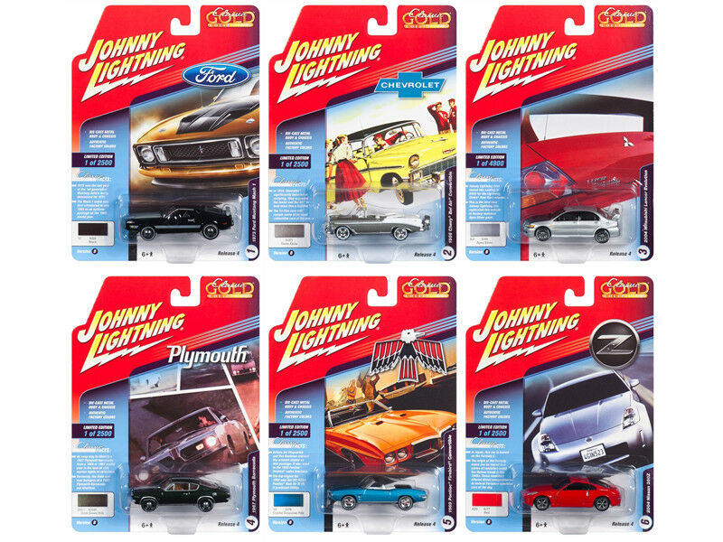 Classic Gold 2018 Release 4, Set B of 6 Cars 1 64 Diecast Models by Johnny Light