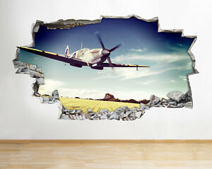 Z070 aeroplano Spitfire Hurricane Esercito Ragazzi Murali Poster 3d Adesivi ARTE  </span>