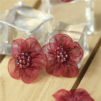 3D Blumen Spitze Applikation Tüll Perlenbesetzt Flicken Brosche Kleid 18 stk