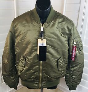New-Alpha-Industries-Men-s-MA-1-Slim-Fit-Reversible-Bomber-Jacket-In-Olive-XL