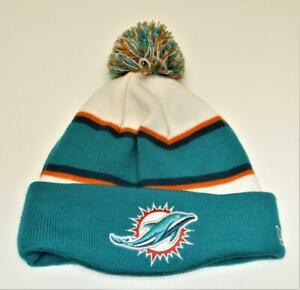 New-Adult-New-Era-NFL-Miami-Dolphins-cuffed-toque-knit-cap-with-pompoms