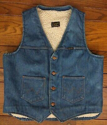 Lined Insulated Wrangler Dark Denim Coat Vest Jean Jacket Men/'s size M western wear rugged cowboy warm winter 44
