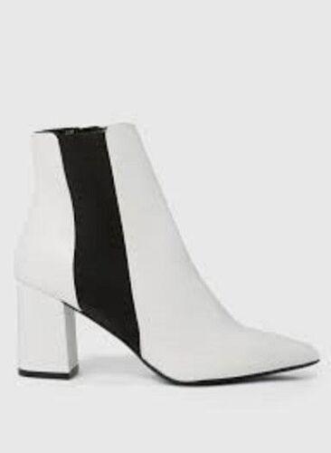 DOROTHY PERKINS White Annika  Block Heel Chelsea Ankle Boots Size UK 7 RRP £35