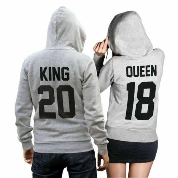 King Queen SET 2 Hoodies Pullover Pulli Liebe Love Pärchen Couple Grau NEU CVLR®