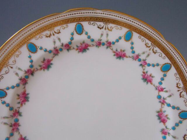 3 Antique Minton Plates Turquoise Rose Swags Hand Painted Enamel Gold Gilt c1890 & MINTON collection on eBay!