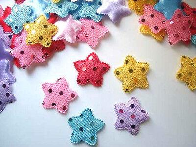 100 Sequin Fabric Holiday Star Applique/shiny/quilting/trim/craft/Christmas L89