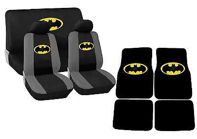 Black and Yellow Batman Car Seat Covers Floor Mats Set HS4