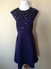 NWT TED BAKER Blue Yadara Floral Appliqué Skater Dress w/ Pockets Size 5 US 12