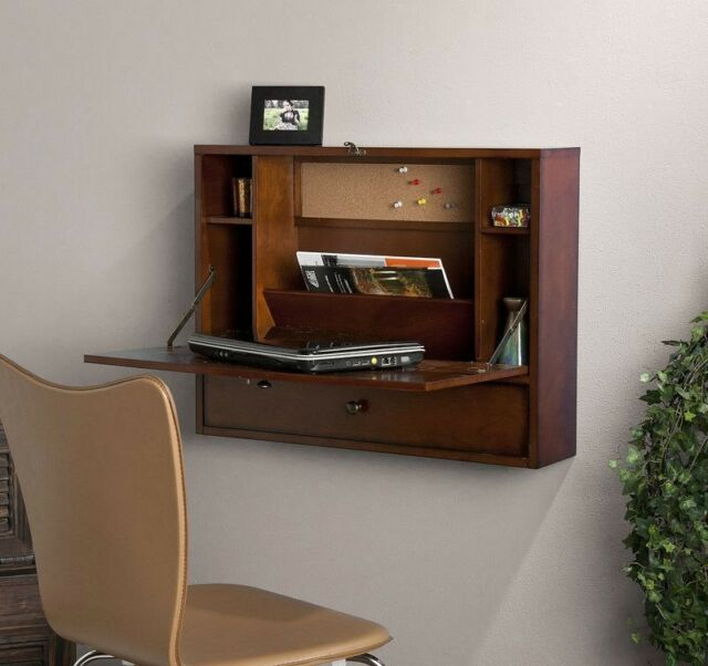 Vintage Floating Wall Mounted Desk Fold Down Home Office Rustic Cabinet 1 Drawer
