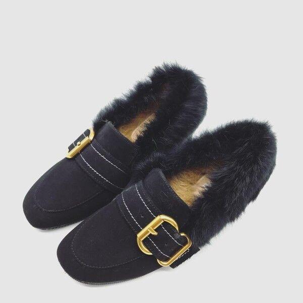 Boots slippers black heel 5.5 soft warm sleeping bag fur like leather 9571