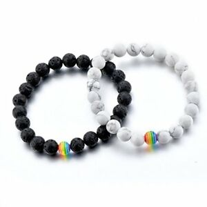 Women-Men-Stone-Beaded-Bracelet-Gay-LGBT-Rainbow-Color-Pride-Friendship-Jewelry