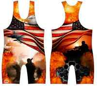On Patrol - Sublimated Wrestling Singlet, Army, Marines Youth Boys Kids Men Size