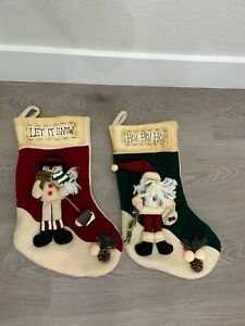 Target Christmas Holiday Set Of 2 Stockings Embroidered Snowman Santa Claus Ebay