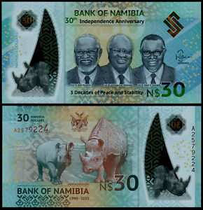 NAMIBIA-30-Banknote-Polymer-Commemorative-P-NEW-2020-UNC-30yrs-Independence
