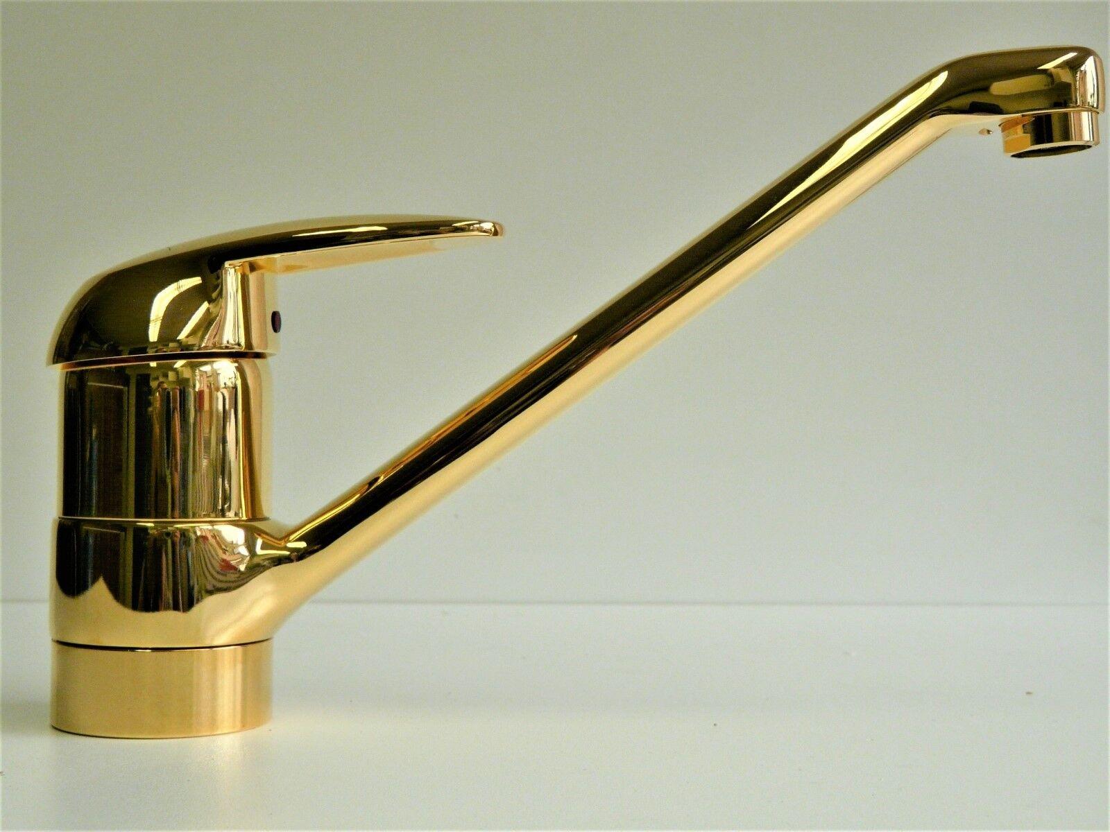 Küchenarmatur Gold (24 Karat), Einhebelmischer, Spültischarmatur, schwenkbar