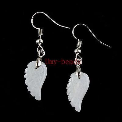Natural Amethyst Quarz Lapis Lazuli Stone Wings of Angel Chakra Earrings Jewelry
