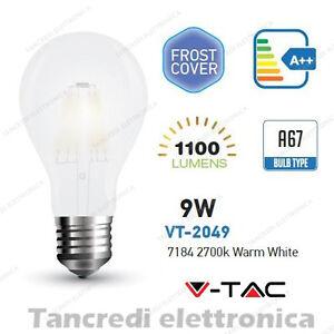Lampadina-led-V-TAC-9W-E27-bianco-caldo-2700K-VT-2049-A67-bianca-filamento-bulb