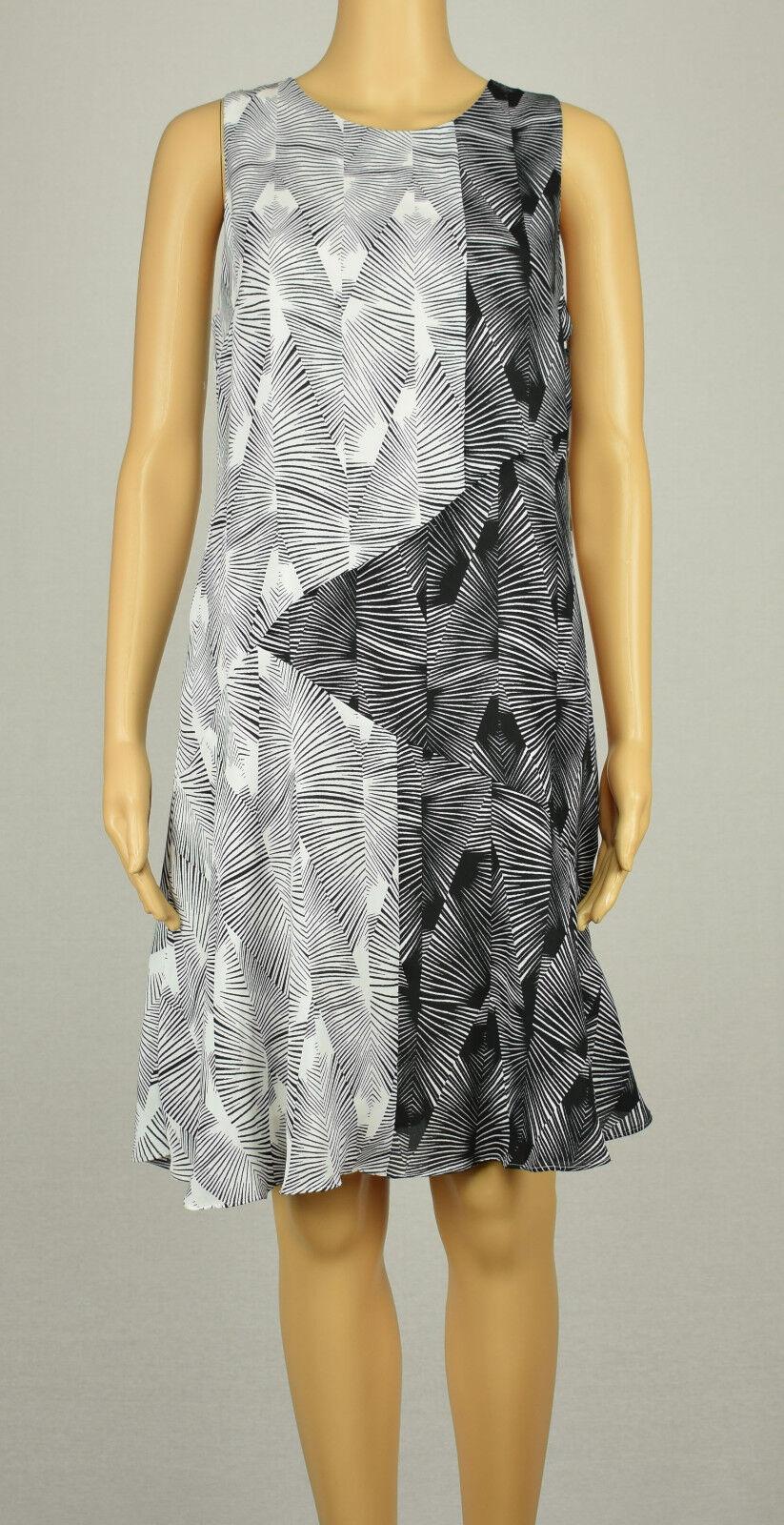 Vince Camuto Damen Schwarz Weiß Ärmellos Grafik Gestreiftes Kleid 4