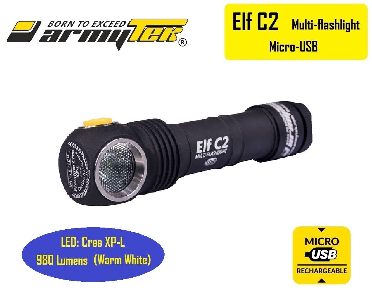 ARMYTEK Elf C2 USB Cree XP-L 980 Lumens LED Headlight Flashlight - Warm White