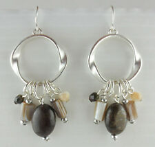 PREMIER QUALITY Dangling Silver Plated Agate Gemstone Mother of Pearl Earrings