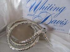 Vtg. Whiting & Davis Silver Mesh Blue Stones Snake Belt/Necklace Signed (NFOS)