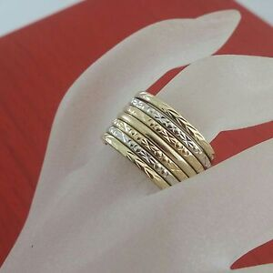 Beautiful-Vintage-Handcrafted-14k-Solid-Gold-7-Bands-Stack-Ring-Size-6-5