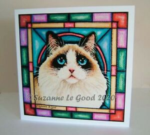 Ragdoll cat art birthday greetings card from original painting Suzanne Le Good