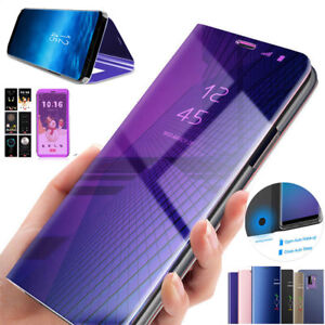 new products 7a6ca e5beb Details about For Samsung Galaxy A7 2018/J4 J6Plus Case Flip Leather Stand  Wallet Mirror Cover