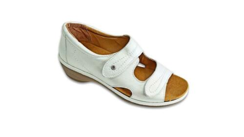 Padders Glamour Womens Wide Fitting Sandals Leather Upper White Comfort Width 4E
