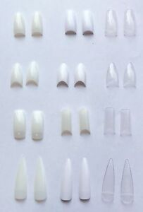 False-Nail-Tips-Natural-Clear-White-Stiletto-Almond-Display-Pre-Pinched-Vamp