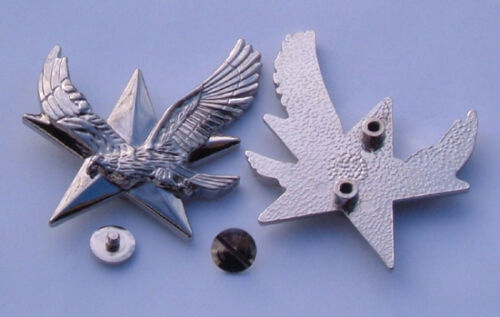 Flying Eagle Chrome Bolt-On.Badge on a 3D Star-Motorcycle-Curiser Bike-Trike