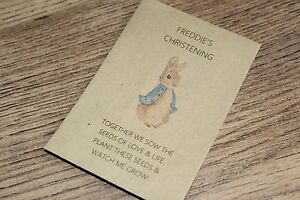 Personalised Seed Packets Flowers Christening Gift Favour Boy Girl Peter Rabbit