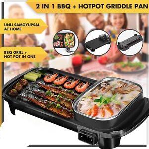 Multifunction 2-in-1 Electric Shabu Shabu Grill Plate Hot Pot Samgyupsal Pan