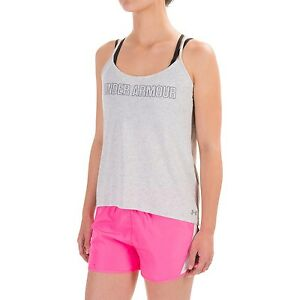 NWT~ WOMEN/'S UNDER ARMOUR WORD MARK STRAPPY MOISTURE WICK TANK TOP// T-SHIRT
