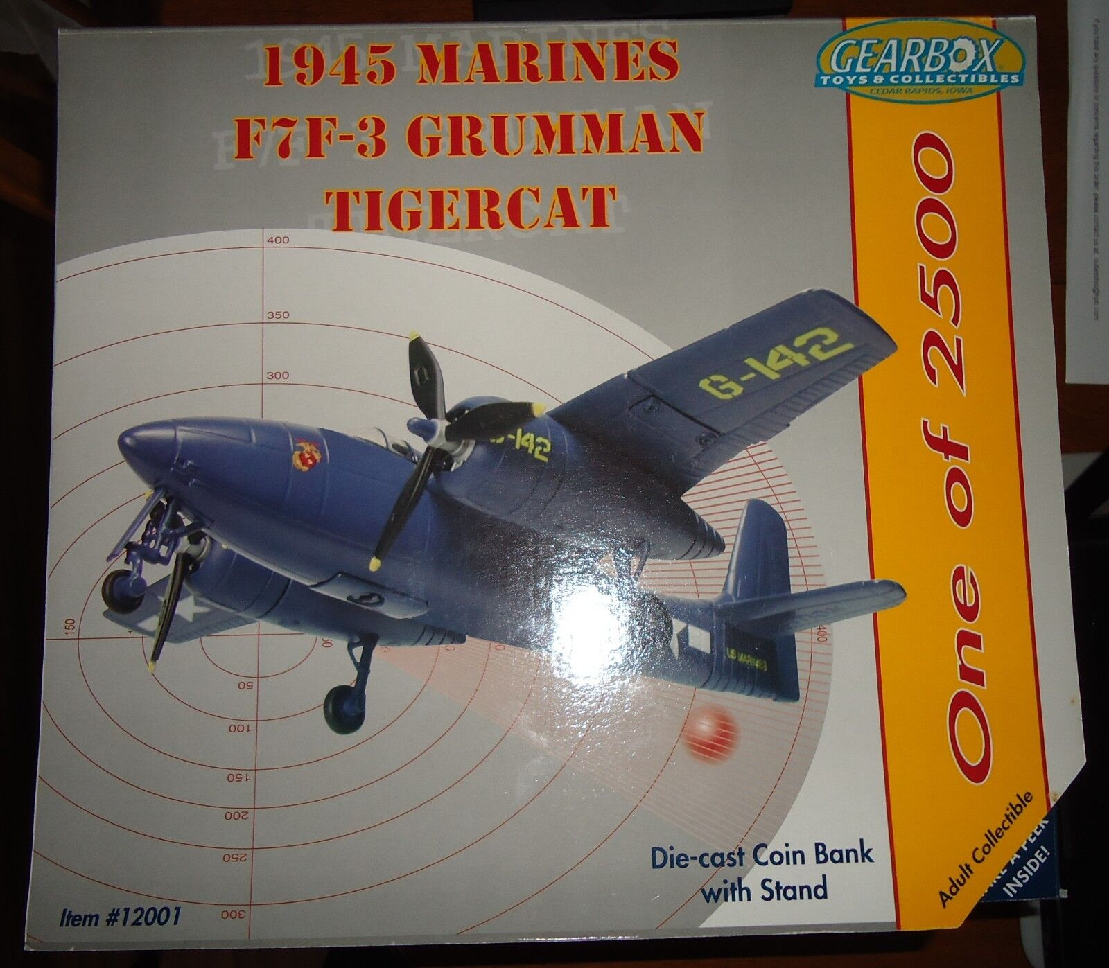 1945 Marines F7F-3 Grumman Tigercat Diecast Gearbox Neuf dans sa boîte Limited Edition 1 2500